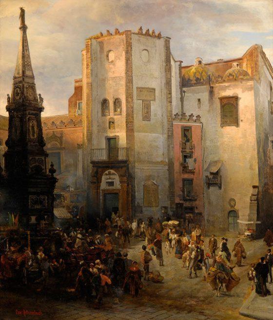 Oswald Achenbach - Napoli Piazza San Domenico Maggiore
