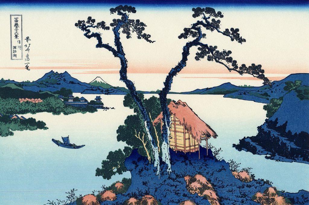 Hokusai- Le lac Suwa dans la province de Shinano