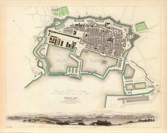 Carte de 1840 de Toulon - Pleinairisme