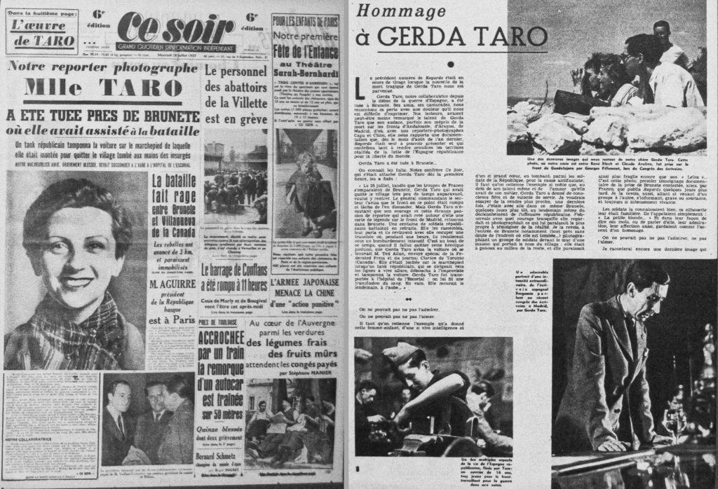 L'annonce de la mort de Gerda Taro dans la presse française.