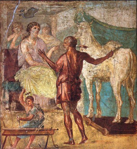 Dédale et Pasiphaë . Fresque romaine dans la maison des Vettii , Pompéi , premier siècle de notre ère