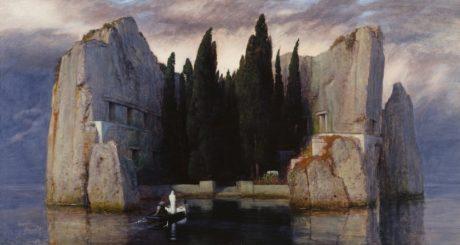 L'île des morts III (1883), huile sur panneau, 80 x 150 cm, ancienne galerie nationale de Berlin, Berlin .