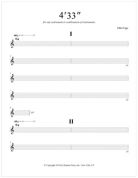 """John Cage 4'33"""" ( partition - extrait ) - Non-Dits"""