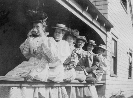 E. Alice Austen, Six Women on Porch Railing - 1895