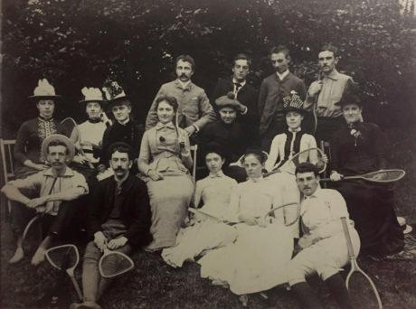 E. Alice Austen, [Group on Tennis Grounds], 1886.