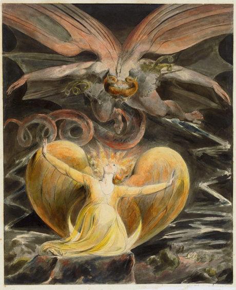 Le grand dragon rouge et une femme vêtue de soleil (1805) William Blake