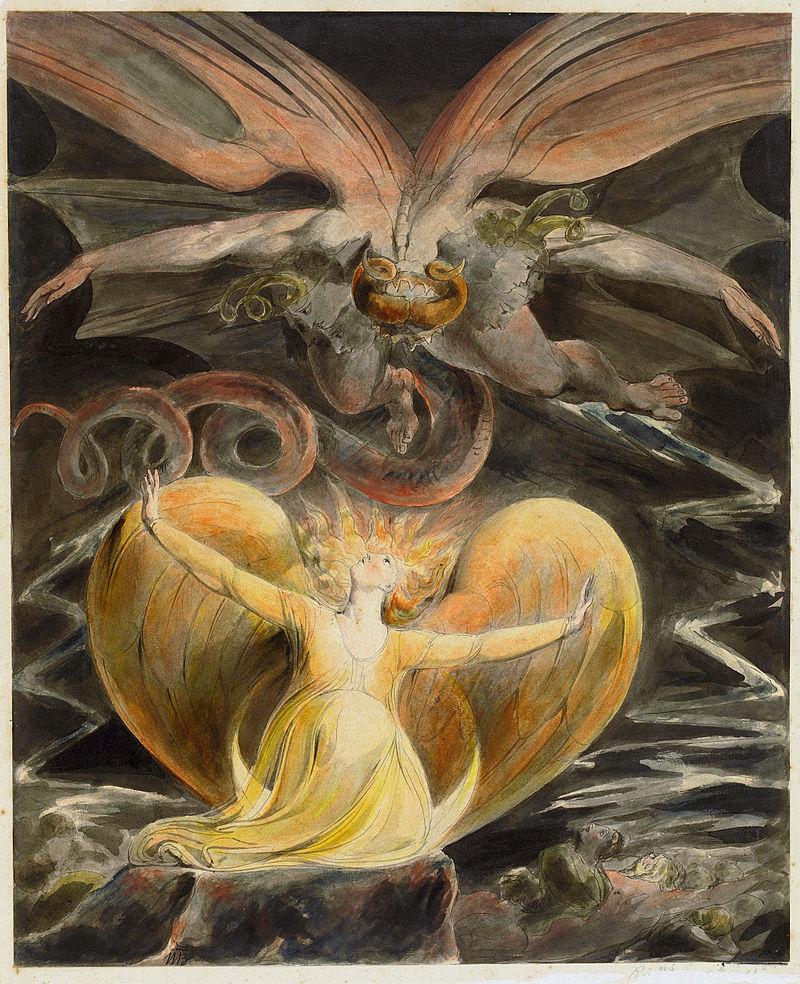 Le grand dragon rouge et une femme enveloppée du soleil (1805) William Blake