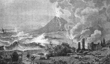 """""""La Mort de Pline"""" - Illustration de """"Histoires des météores"""" par Yan Dargent - 1870"""