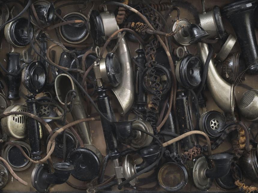 Busy 1960 Accumulation combines telephonique dans de la resine dans une boite en bois