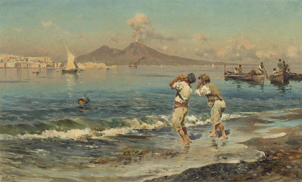 Antonino Leto   Una veduta del golfo di Napoli con i pescatori