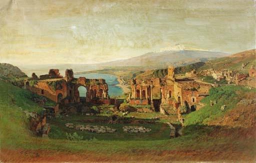 Otto Geleng: Une vue de Taormina avec l'Etna en fond